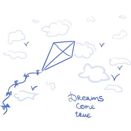 フレーズの夢をかなえると空に凧