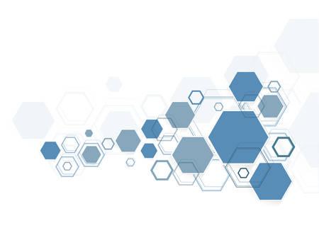 Abstracte zeshoekige structuren in technologie en wetenschappelijke stijl.