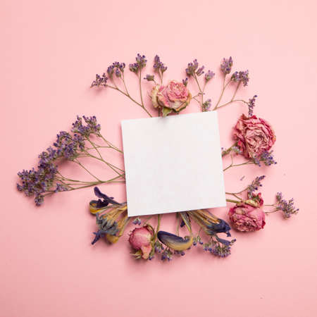 Card with dried flowers Stock Photo