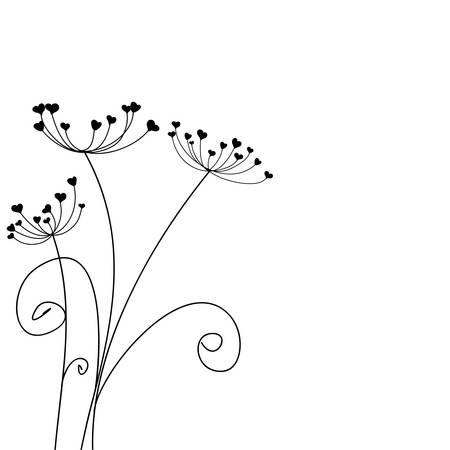 Ink drawing wild flowers, monochrome artistic botanical illustration. Ilustrace