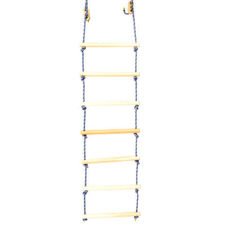 rope-ladder made of wood on the white background .
