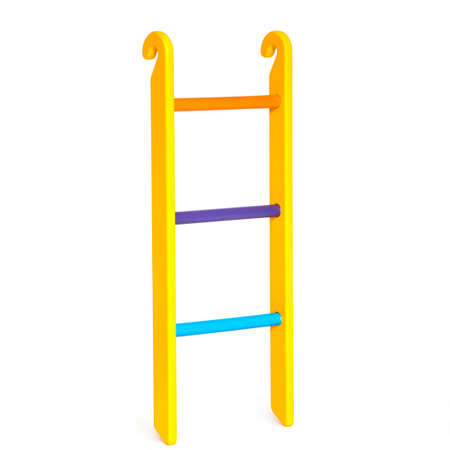 Wooden colorful ladder on the white backdrop Stock Photo