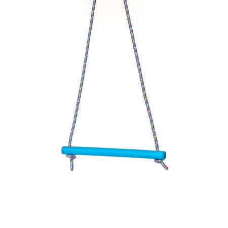 Closeup of plastic blue swing for kids on the white