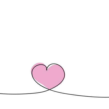 Heart in one continuous line. Valentines Day card design