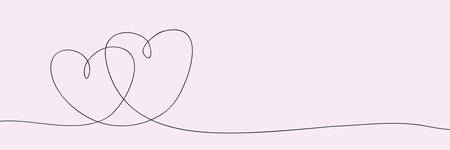Heart in one continuous line. Valentines Day.