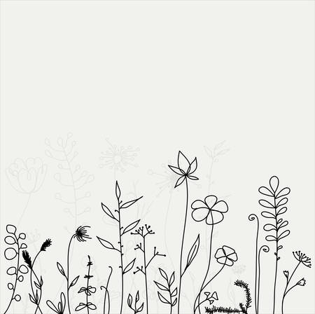 Outline hand drawn flowers and plants. Monochrome vector illustrations in sketch style. Ilustrace