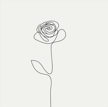 Realistic vector elements outline rose