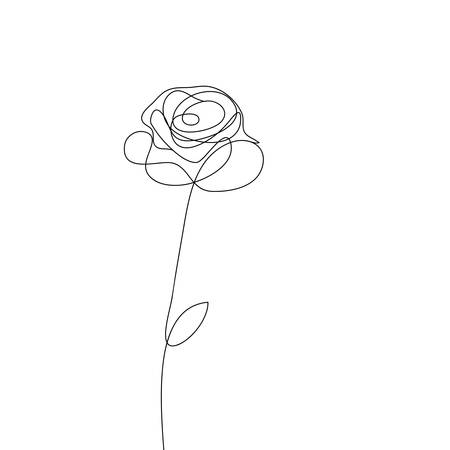 Realistic vector elements outline rose on the white