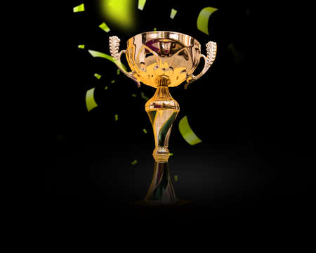 Trophy cup. Champion trophy, shiny golden cup and falling confetti, sport award.