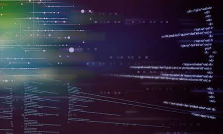 Glowing digital code on a dark background. Stockfoto