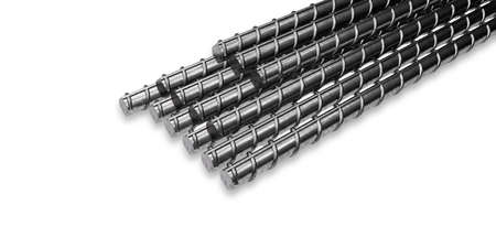 Steel rods or bars used to reinforce concrete. 3D Render.