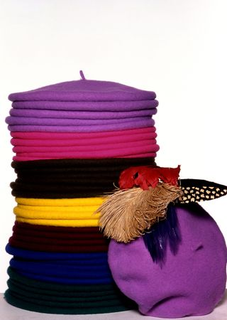 berets: colorful hats made of wool  Stock Photo