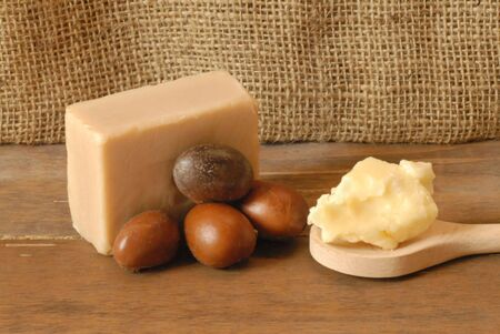 Shea soap with fruit and cream  Stock Photo - 8132873