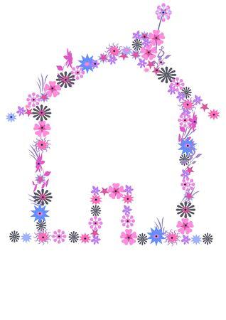 casa hecha de flores