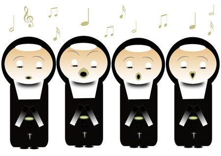 nuns: singing nuns Stock Photo