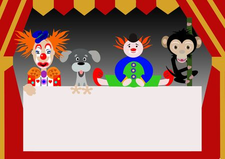 puppet theatre: characters of the circus Stock Photo