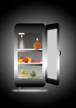 fridge with fruits and vegetables photo