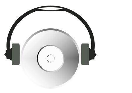 cdrom: cd-rom with headphones Stock Photo