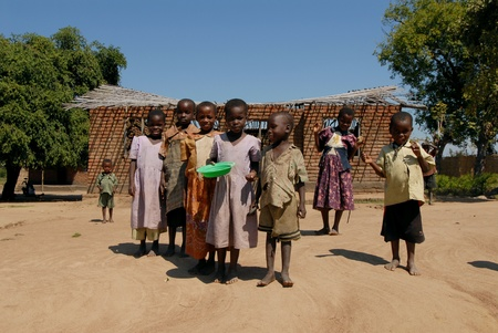 Malawi -April 22, 2007:Group of children of a village in Malawi. Malawi is one of the poorest countries on the planet.