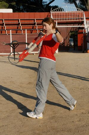 Madrid,Spain- October 19,2005: Girl are training at the school of taurine Madrid