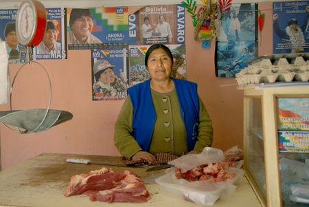 esther: Oruro, Bolivia, June 14, 2006. Esther Morales sister of the President of Bolivia Evo Morales.Esther in his small shop. Esther leads a very modest life, is primarily active in pro-poor Editorial