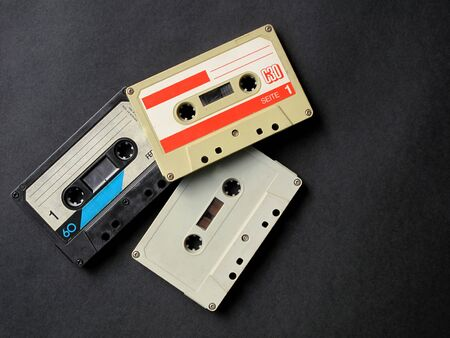 three old analog audio cassette                              photo