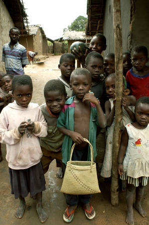 Maputo, Mozambique, April 28,2004: a group of children on the streets of Maputo.                                Редакционное