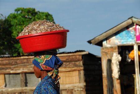 mwanza: Mwanza,Tanzania-1 March,2010:a woman walking on the head brings the fish to sell at the market. One of the major activities in Mwanza is the fish of Lake Victoria fisheries Editorial