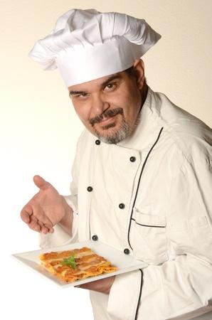 cocinar con Lasaña Foto de archivo