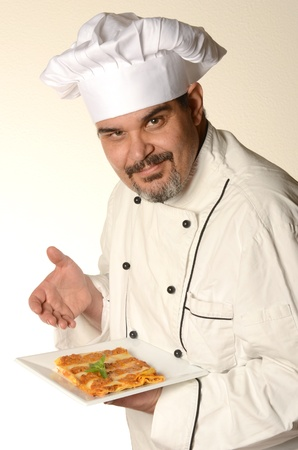 lasagna: cocinar con Lasa�a Foto de archivo