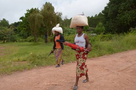 Two African women carry large bags of rice to be sold  at Salima's market in Malawi on April 7, 2011. Salima market attracts many sellers from surrounding villages
