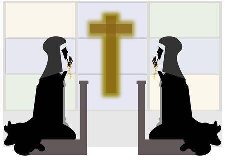 nuns: nuns praying before the crucifix Stock Photo