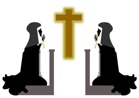 nuns praying before the crucifix Stock Photo - 10766641