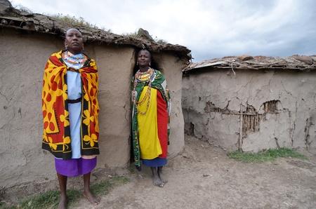 Masai Mara,Kenya, October 17, 2011:Masai women  in a small villages in the Masai Mara