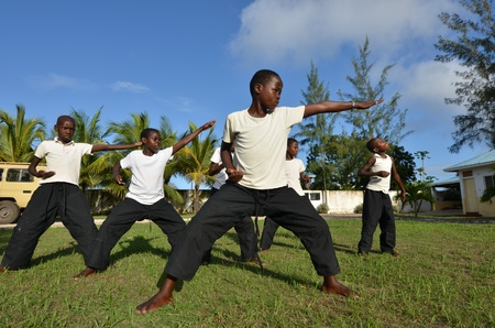 Malindi,Kenya- 16 October 2011:  a group of unidentified orphans learn martial arts discipline.The Italian Association Rizzato, follows the children in the discipline, Malindi October 16.2011