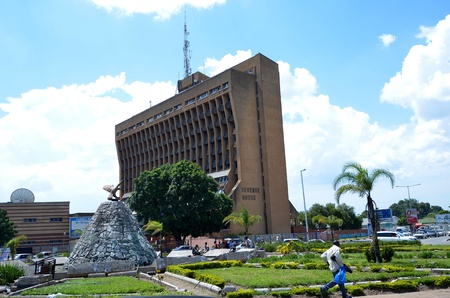 LUSAKA,ZAMBIA DECEMBER 2 : Square Revenue House, the center of Lusaka with one of the tallest buildings in the capital, this building houses the most important offices in the capital, on December 2,2011 in Lusaka, Zambia