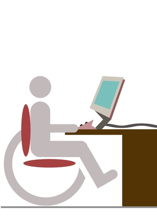 hindrance: handicapped man with wheelchair in front of the computer