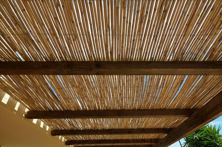 roof beam: roof made of reeds  Stock Photo
