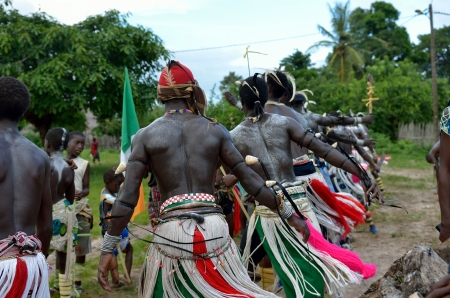 tribal dance: Kartiak, Senegal- September 25,2012: African men dance in the party of initiation. This ceremony is performed every 30 years in the village of Kartiak Editorial