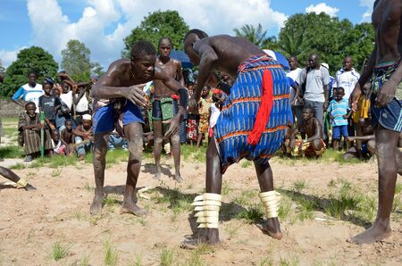 Kartiak, Senegal- September 27,2012: Men in the traditional struggle of Senegal, this sport is the most ancient competitive discipline in Senegal, this sport is the most beloved in Senegal