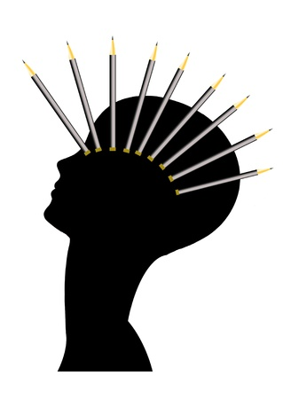 creative woman with pencils on the head