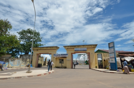 embarked: Ziguinchor,Senegal, September,29,2012 : entrance of the seaport of Ziguinchor where the passengers are embarked for Dakar. In 2002 it sank the old ship and they are dead 730 people.Now sails a new ship pride of the Senegal Editorial