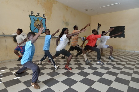Dakar, Senegal-October 3, 2012: a gym for the fencing, the only school of teachers of weapons. It has the assignment to spread the fencing and to give formation and diffusion in Africa Stock Photo - 16585586