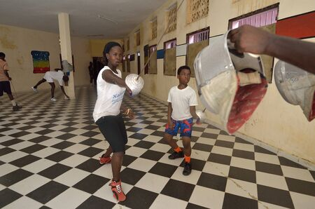 fencing foil: Dakar, Senegal-October 3, 2012: a gym for the fencing, the only school of teachers of weapons. It has the assignment to spread the fencing and to give formation and diffusion in Africa Editorial