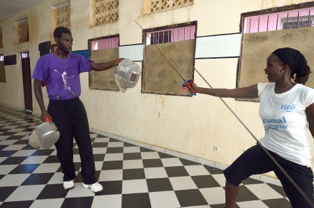 Dakar, Senegal-October 3, 2012: a gym for the fencing, the only school of teachers of weapons. It has the assignment to spread the fencing and to give formation and diffusion in Africa Stock Photo - 16585589