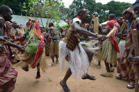 Kartiak,Senegal-September 18,2012 :people dance in the ritual of Boukoutt of Initiation ceremony on September 18, 2012 in Kartiak, Senegal. The ceremony occurs every 30 years and celebrates boys becoming men.