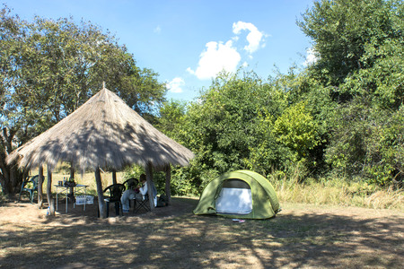 tends: camping in the African savannah Stock Photo