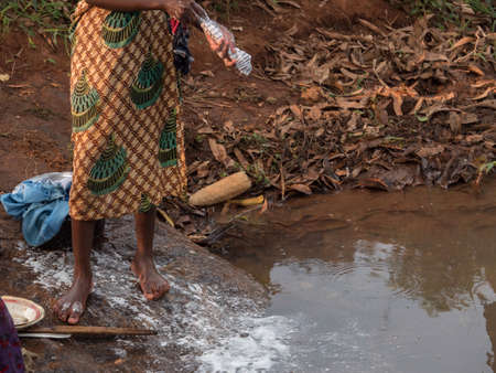 malawi: African girl to the river in Malawi