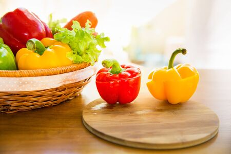 red cabbage: Bell pepper, Lettuce, Red cabbage on wooden table Stock Photo
