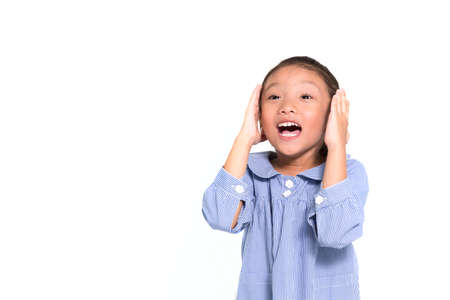 Little asian girl frustrated and put hand closing her face isolate background